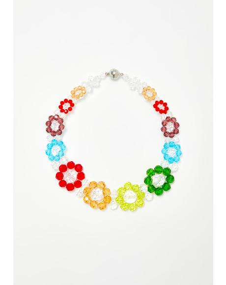 Flower Shine Beaded Choker