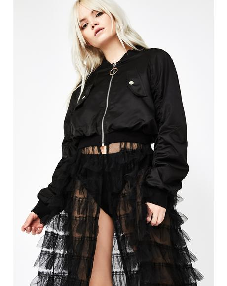 Dark Web Tulle Bomber Jacket