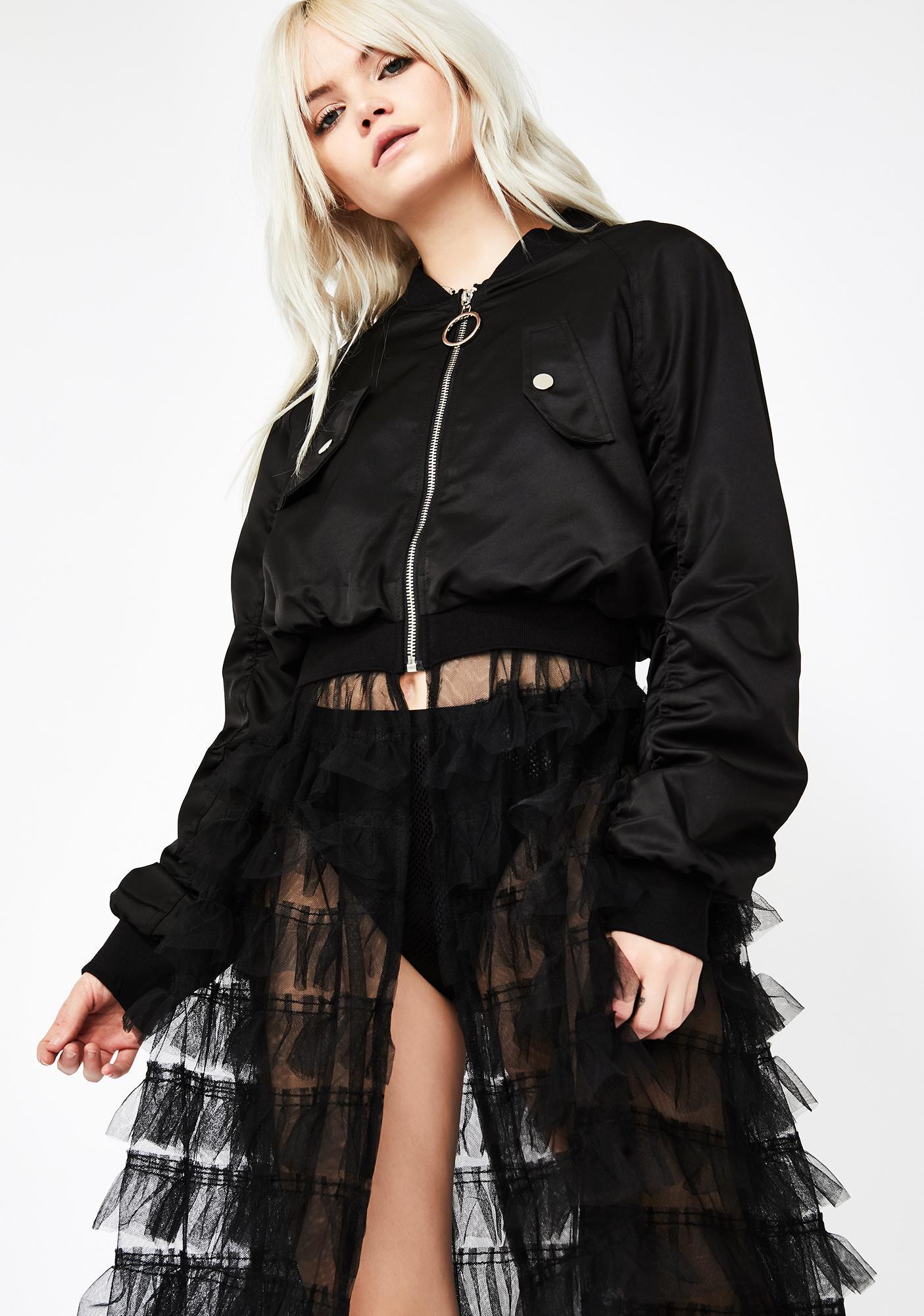 d46979ce9d5a Black Bomber Tulle Skirt Jacket   Dolls Kill