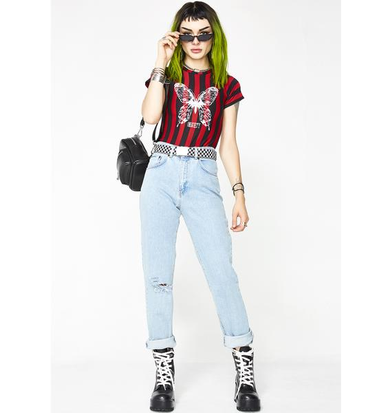 O Mighty Butterfly Striped Tee