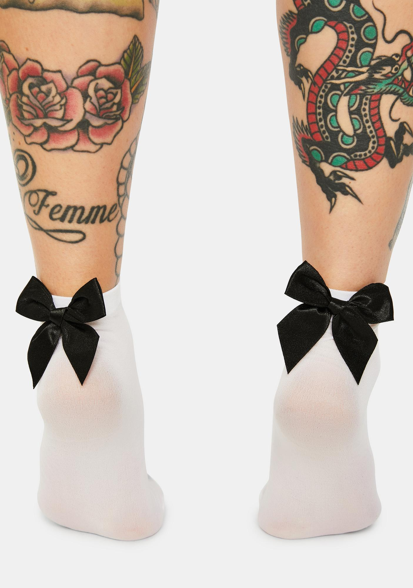 Pure Cheerful Chatter Bow Crew Socks