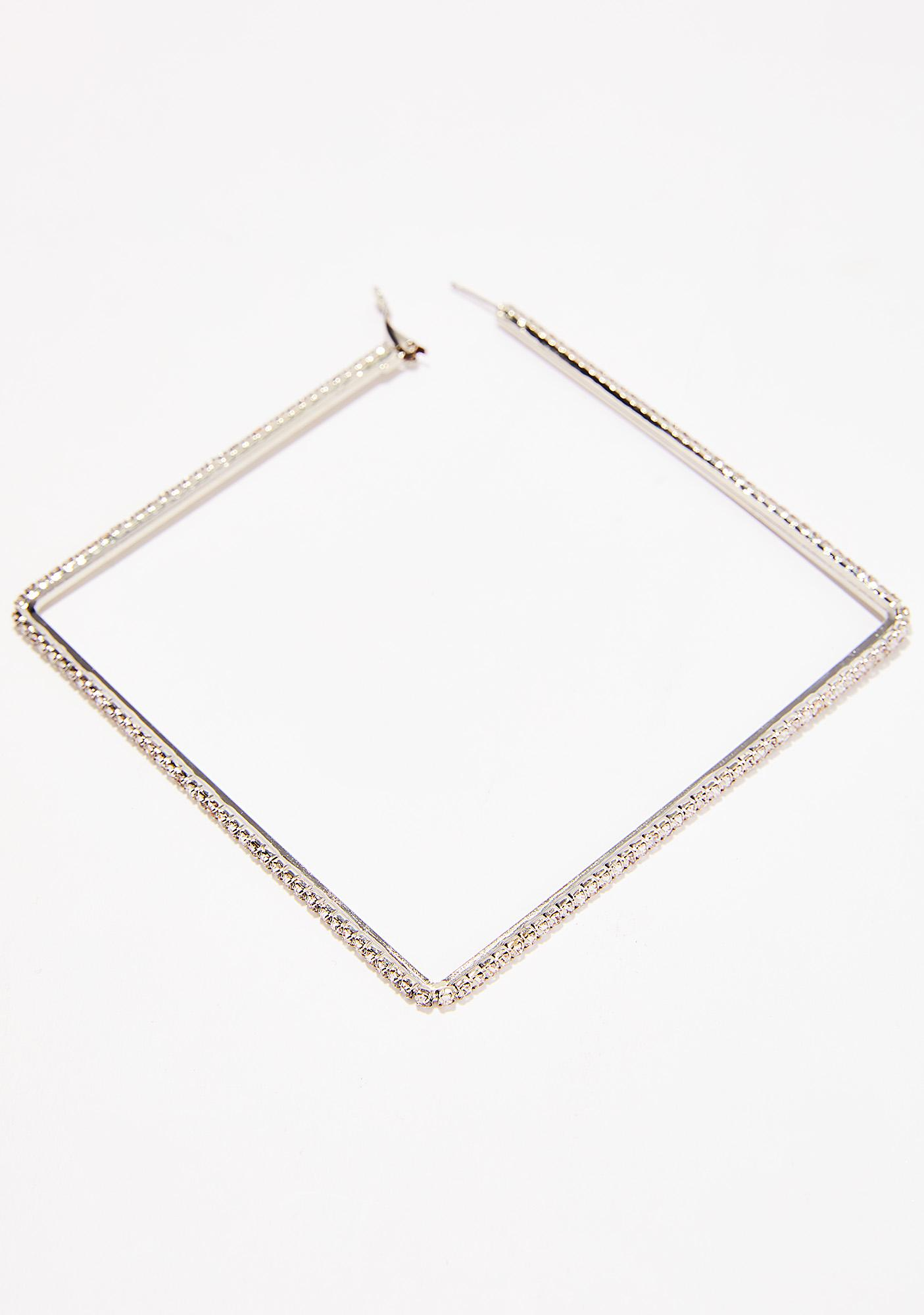 Shiny Glare Square Earrings