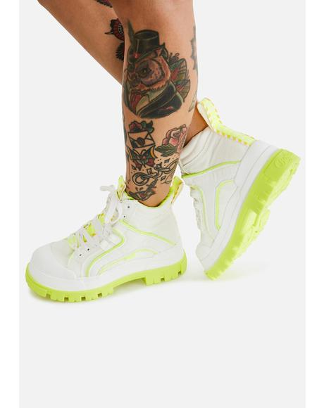 White & Neon Yellow Panthera Mid Boots