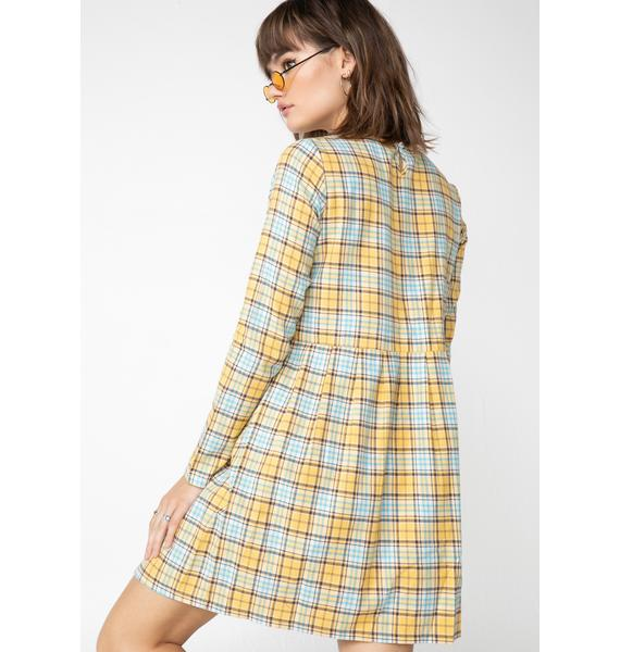 Daisy Street Sunny Plaid Check Print Smock Dress