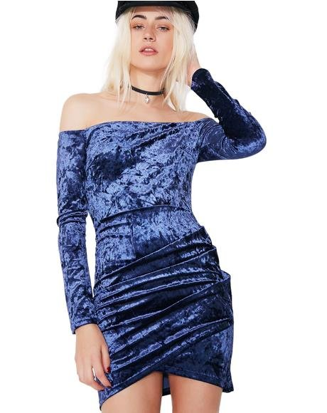 Navy Mystery Girl Velvet Off-Shoulder Dress