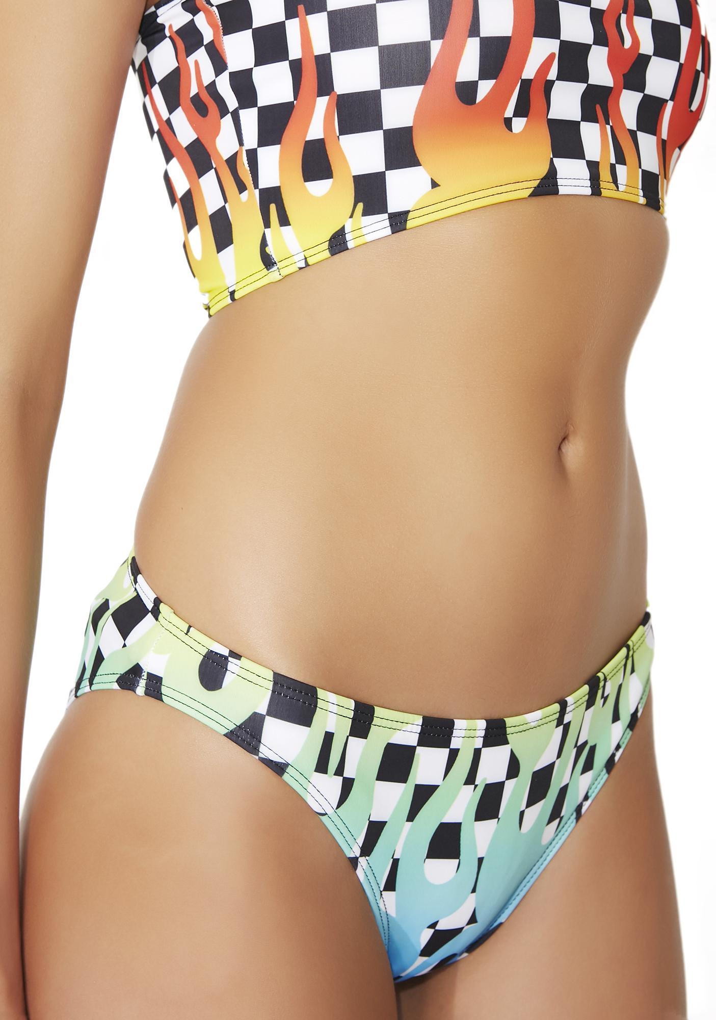 Jaded London Flames Checkered Bikini Bottoms