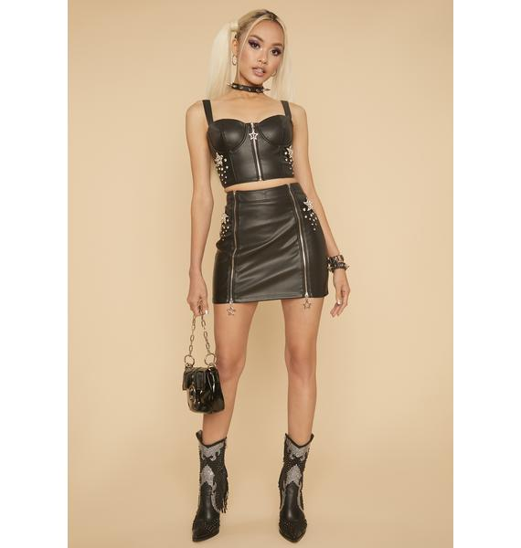 HOROSCOPEZ Blissful Baddie Faux Leather Bustier