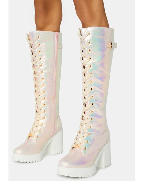 Pink Fairy Lace Up Boots