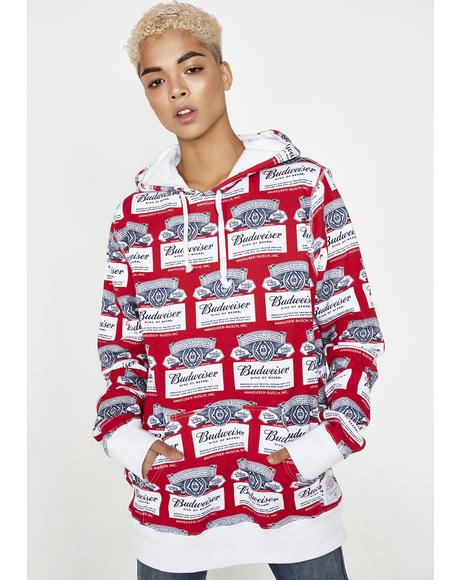 x Budweiser Label Pullover Hoodie
