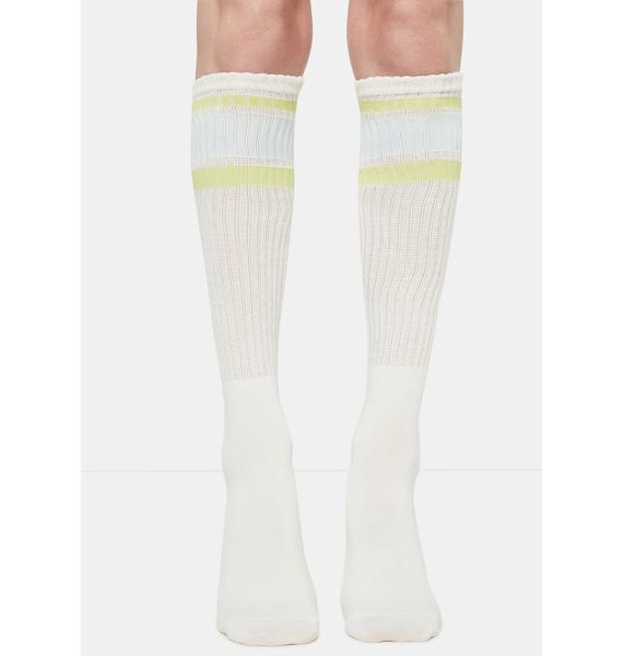 MeMoi Rugby Stripe Knee High Socks