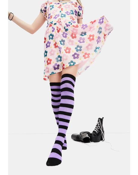 Lavender Playful Lane Striped Thigh High Socks