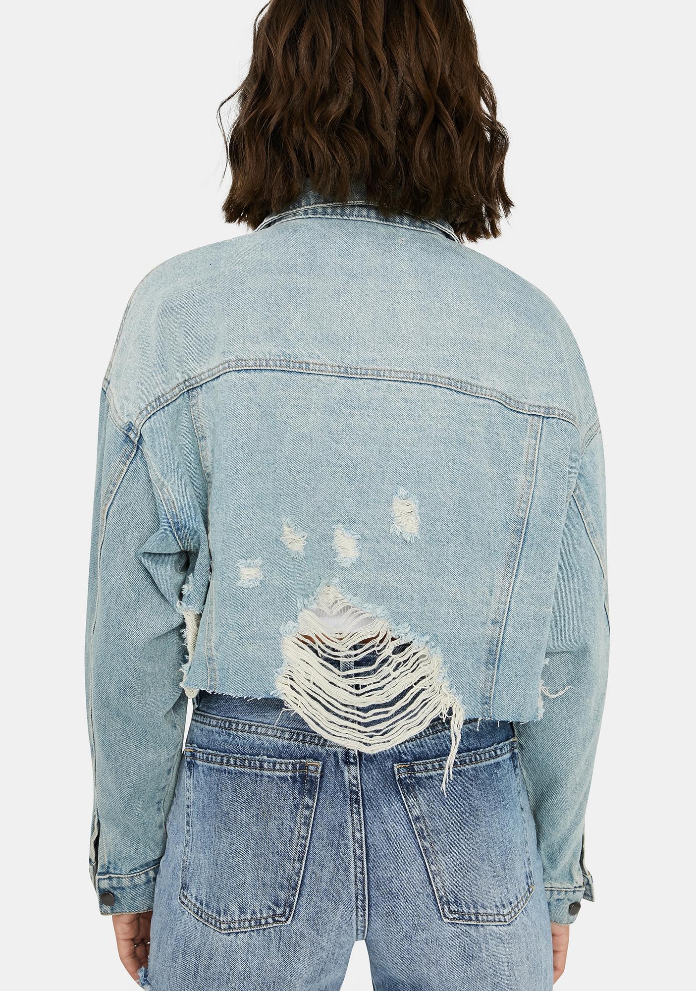 Play It Cool Distressed Denim Jacket