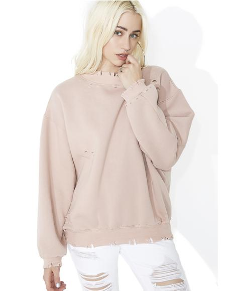 Blush Fade Away Distressed Sweatshirt