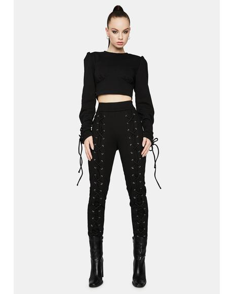 Night Comfy Chic Lace-Up Sweatpants