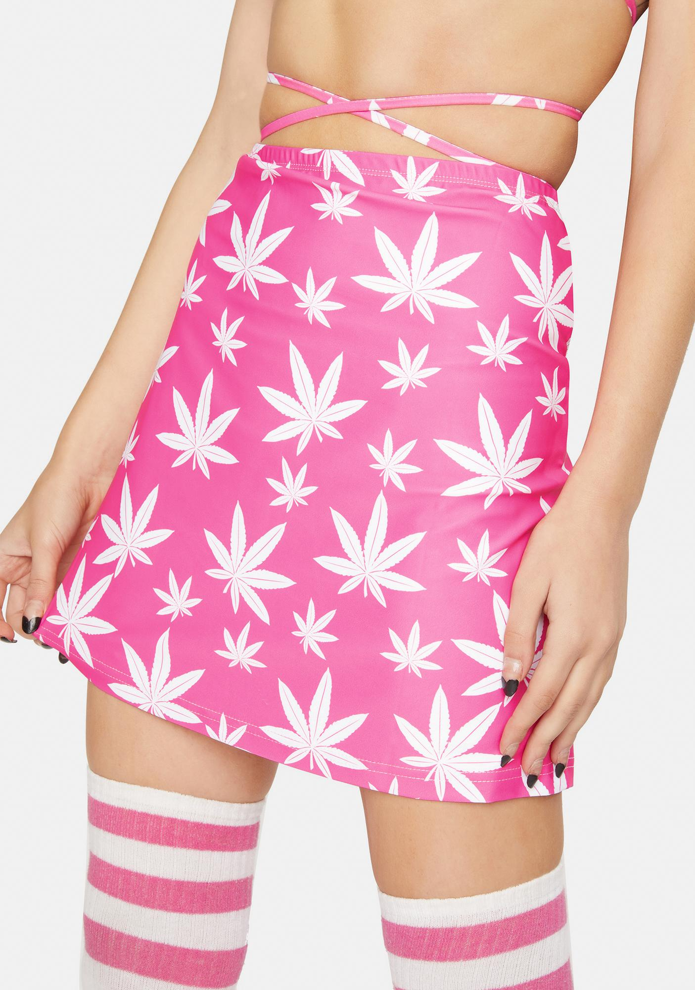 Treasure The Funk Pink Leaf Mini Skirt