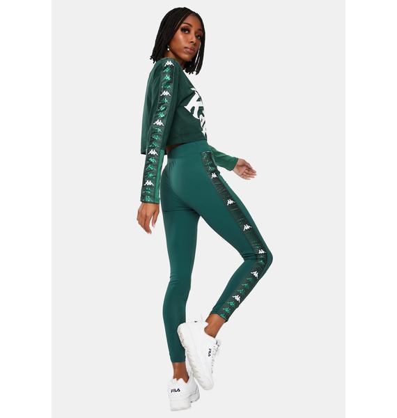 Kappa Green 222 Banda Barter Sport Leggings