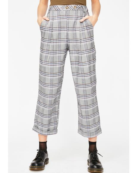 Say Something Plaid Trouser