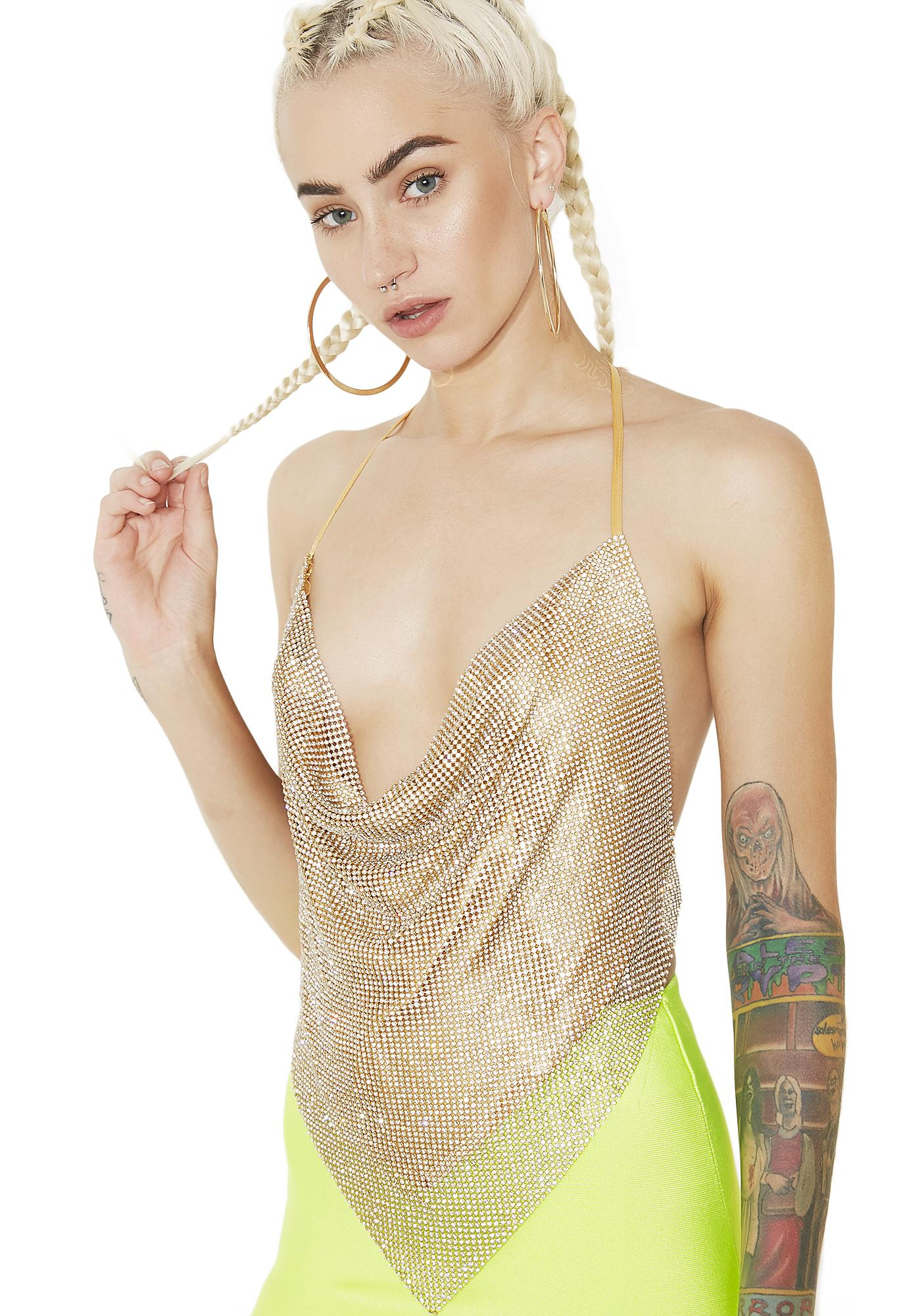 Solid Gold Glam Rhinestone Halter Top