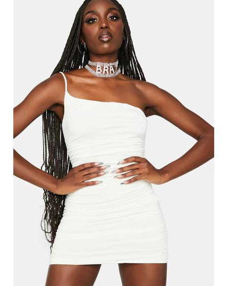 Ivory Party Rockin' Ruched Bodycon Dress