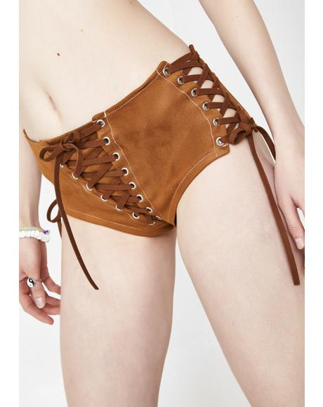 Suede Sahara Lace-Up Shorts