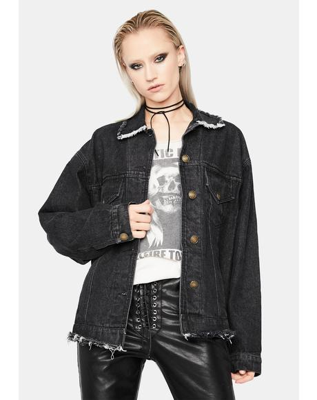 Onyx Rockstar Status Distressed Denim Jacket