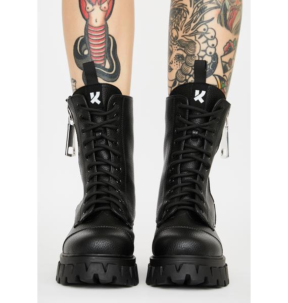Koi Footwear Atrunis Mega Zipper Combat Boots