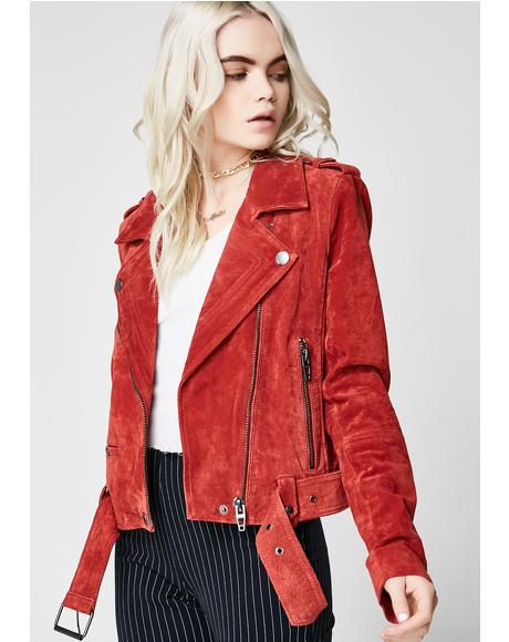 Red My Mind Moto Jacket