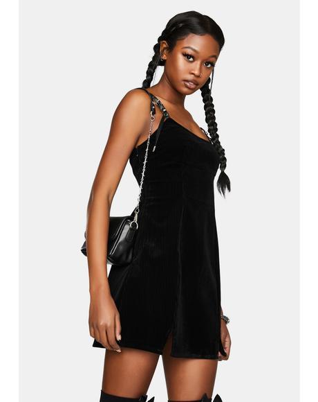 Dark Asymmetric Vest Dress