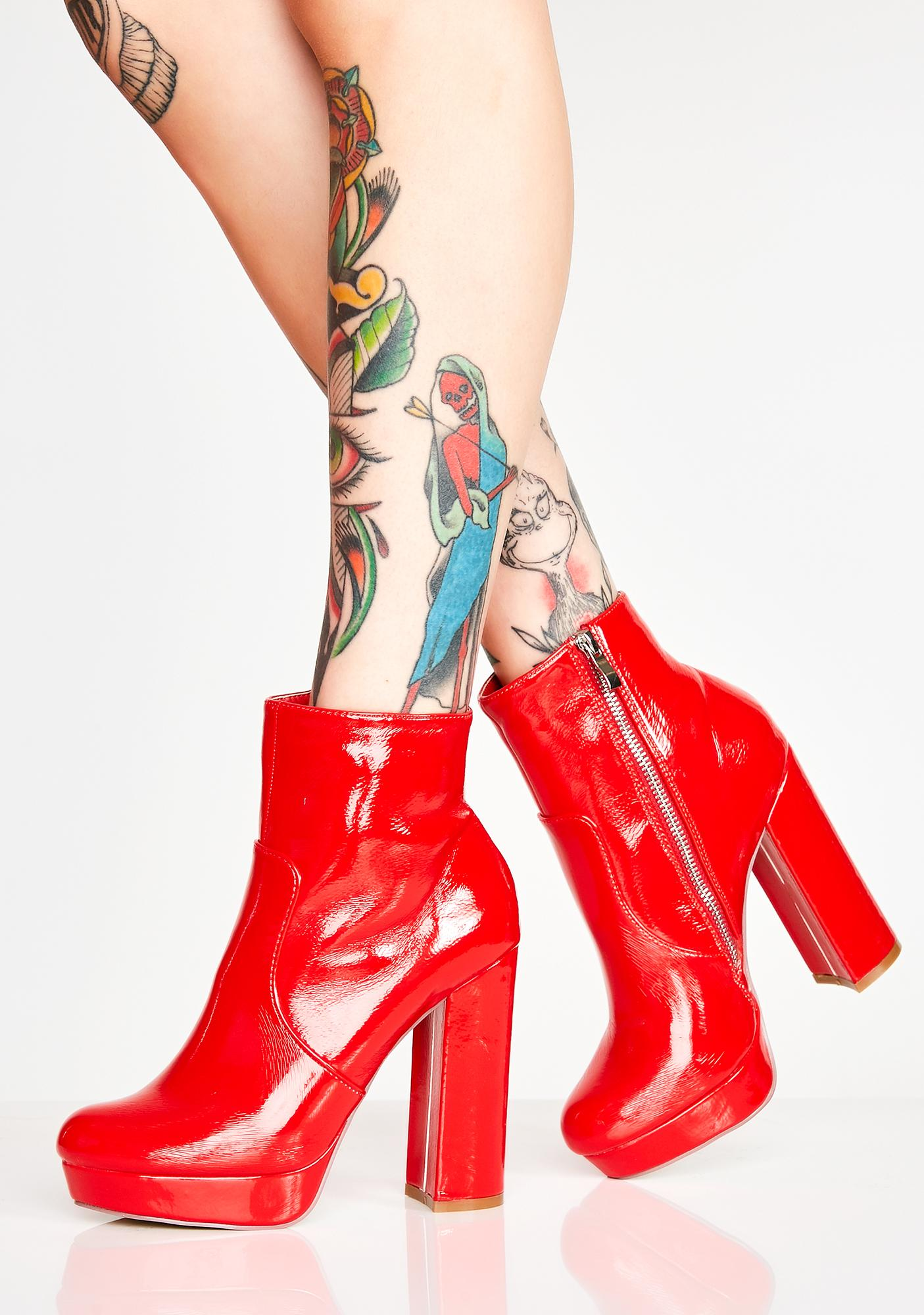 Red Platform Patent Ankle Booties