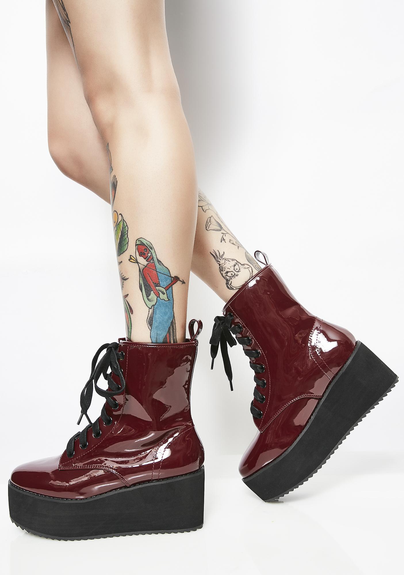 Burgundy Stomp Hi Patent Boots discount official site ENc3B