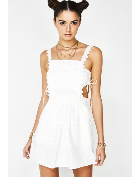 Charlotte Eyelet Overalls Mini Dress