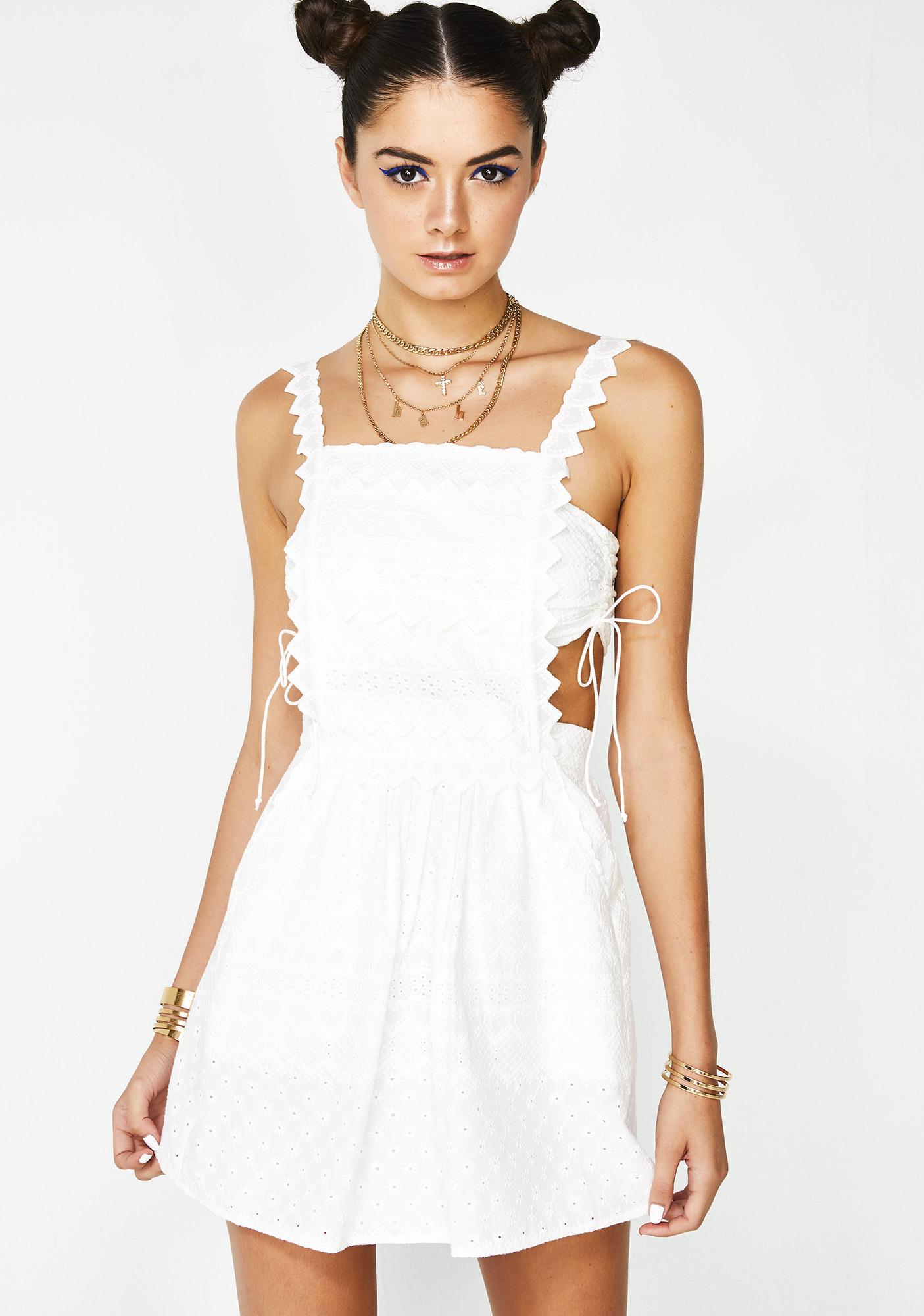 026bcda61f1 For Love   Lemons Charlotte Eyelet Overalls Mini Dress