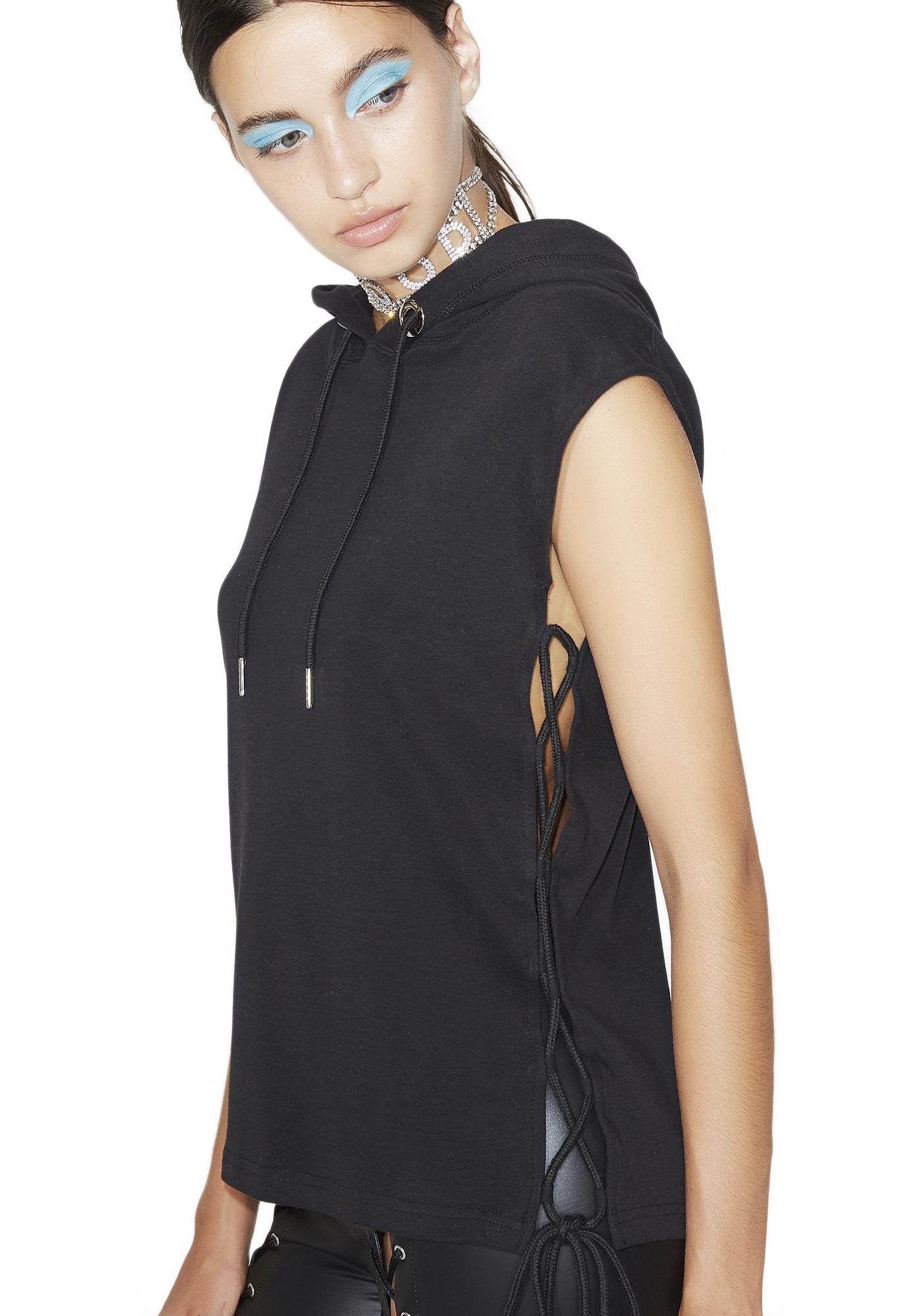 Destroyer Lace-Up Sleeveless Hoodie