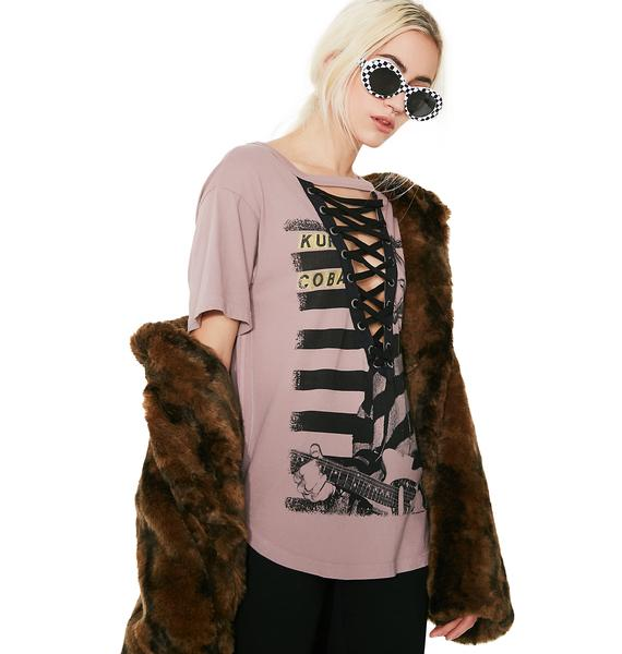 Trunk Ltd.  Kurt Cobain Lace-Up Boyfriend Tee