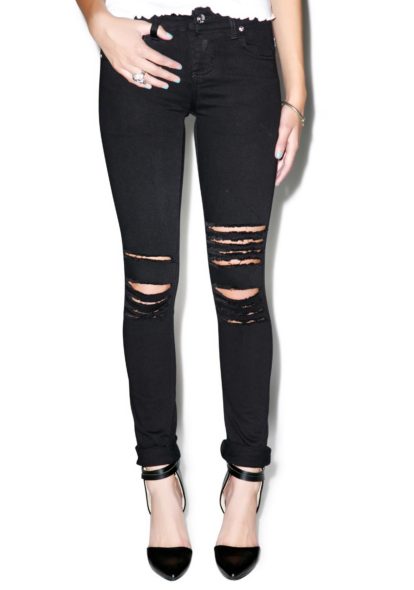 Tripp NYC Rough N' Rowdy Knee Slit Jeans