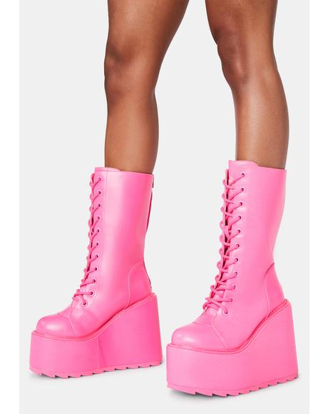 Hot Pink Dune Lace Up Boots