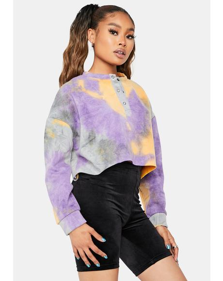 Facts Of Life Tie Dye Cropped Pullover