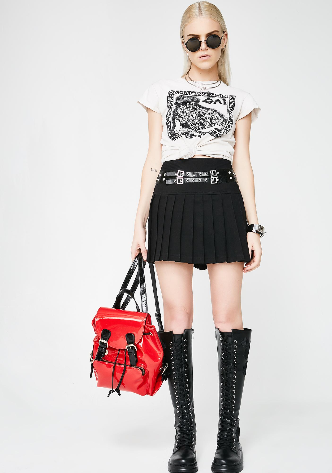 Tripp NYC Buckle Pleated Skirt