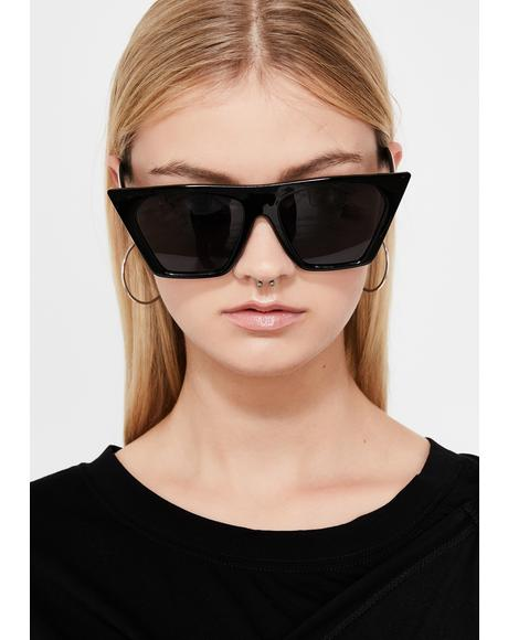 Dark Techno Baddie Cat Eye Sunglasses