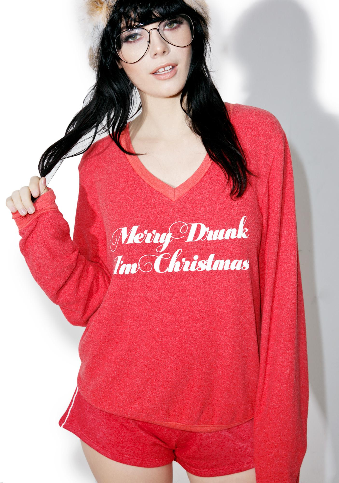 Wildfox Christmas Sweatshirt.Too Much Eggnog Baggy Beach V
