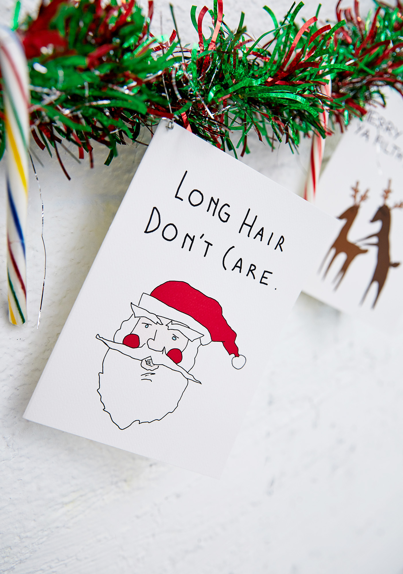 Funny Santa Hair Christmas Card