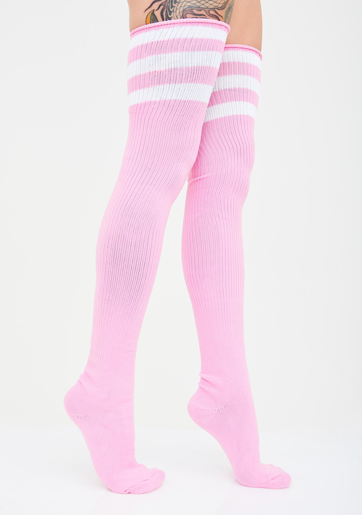 0867bc8c1b4f1 Three Stripe Thigh High Socks Athletic Pink | Dolls Kill