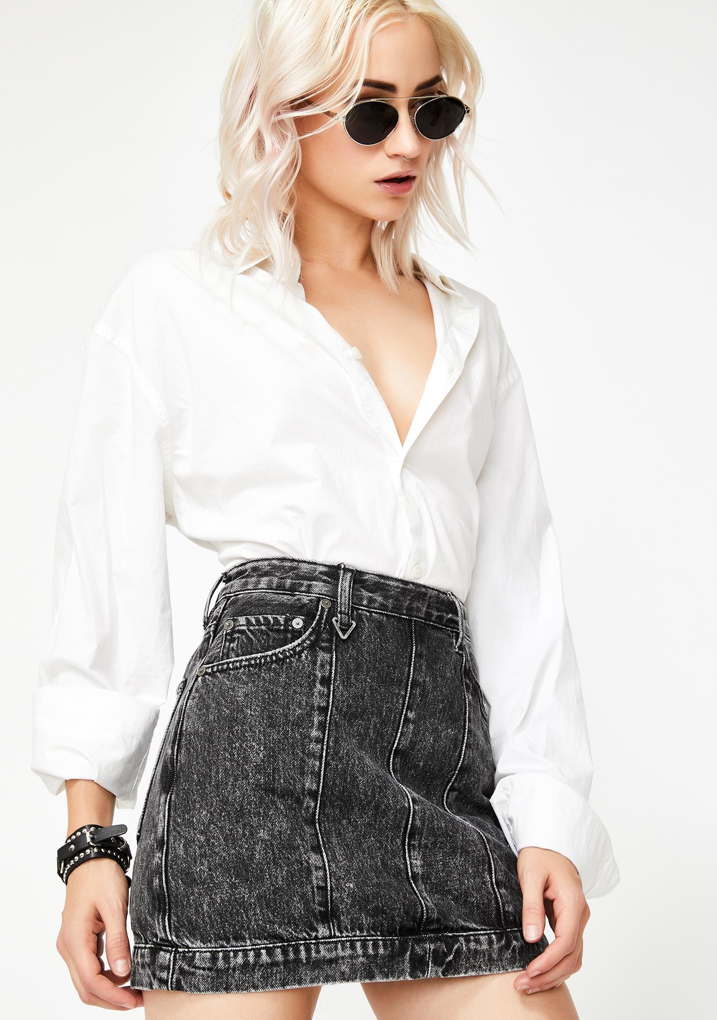 Neon Blonde Tease Denim Mini Skirt