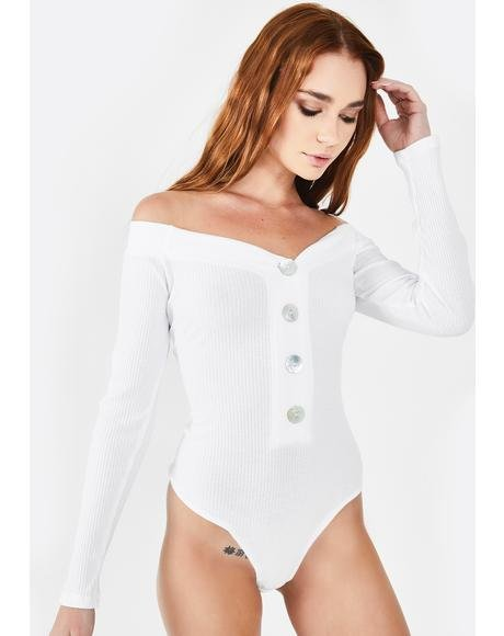 Button Up Off The Shoulder Bodysuit