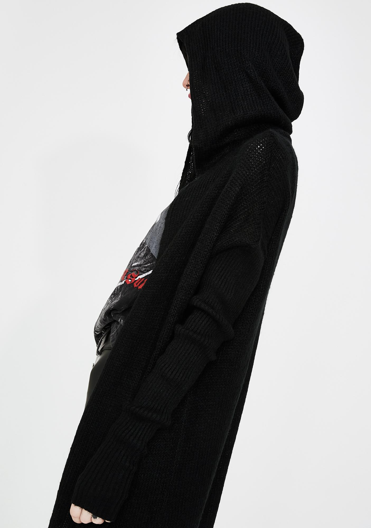 Killstar Vexation Hooded Knit Cardigan