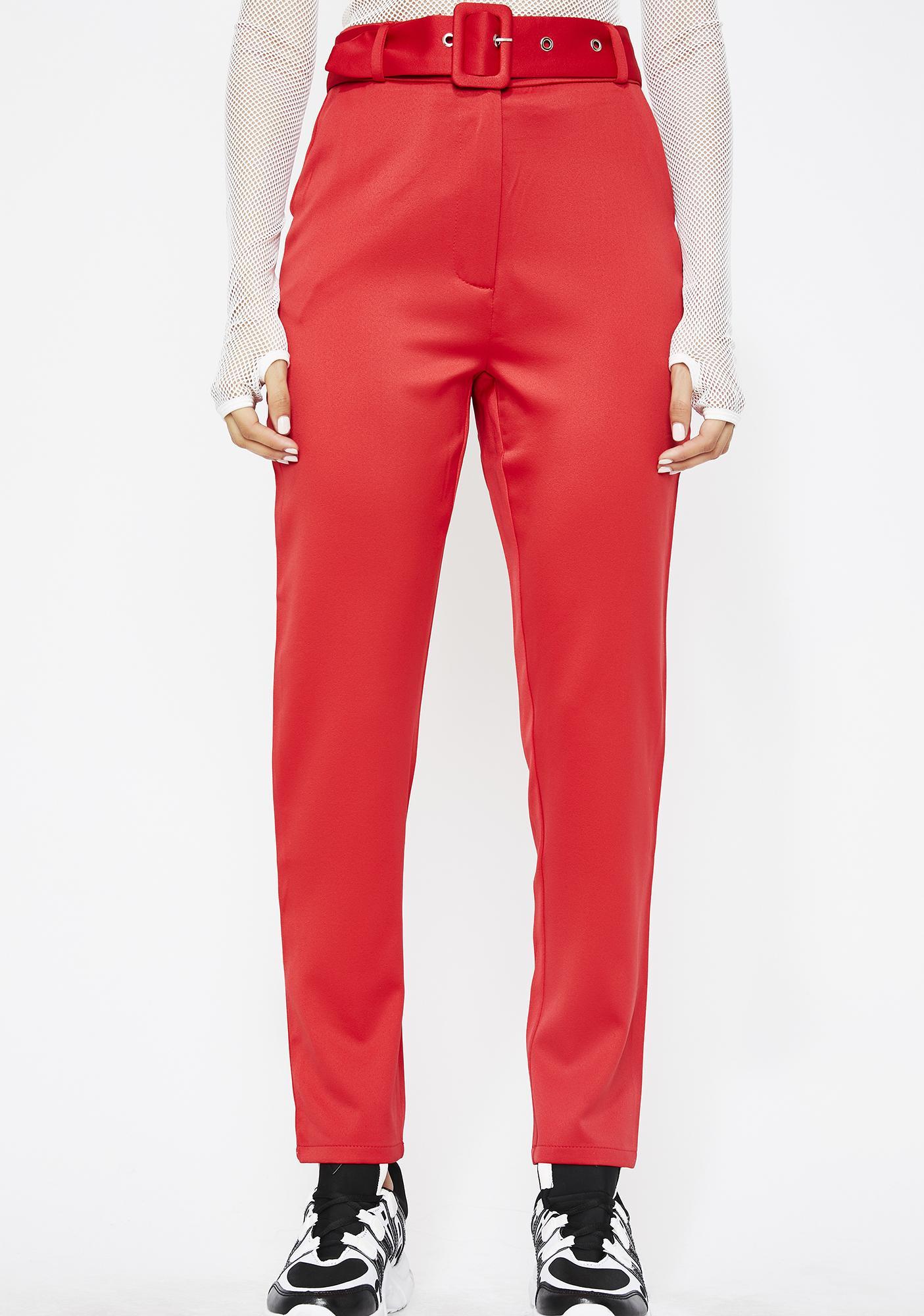 Cherry Runnin' It Belted Pants