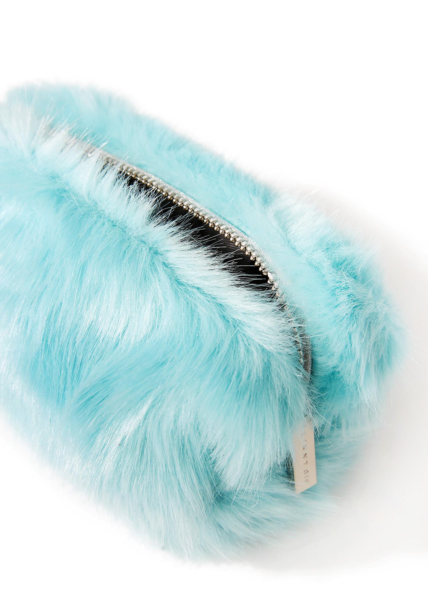 Skinnydip Mint Fur Makeup Bag