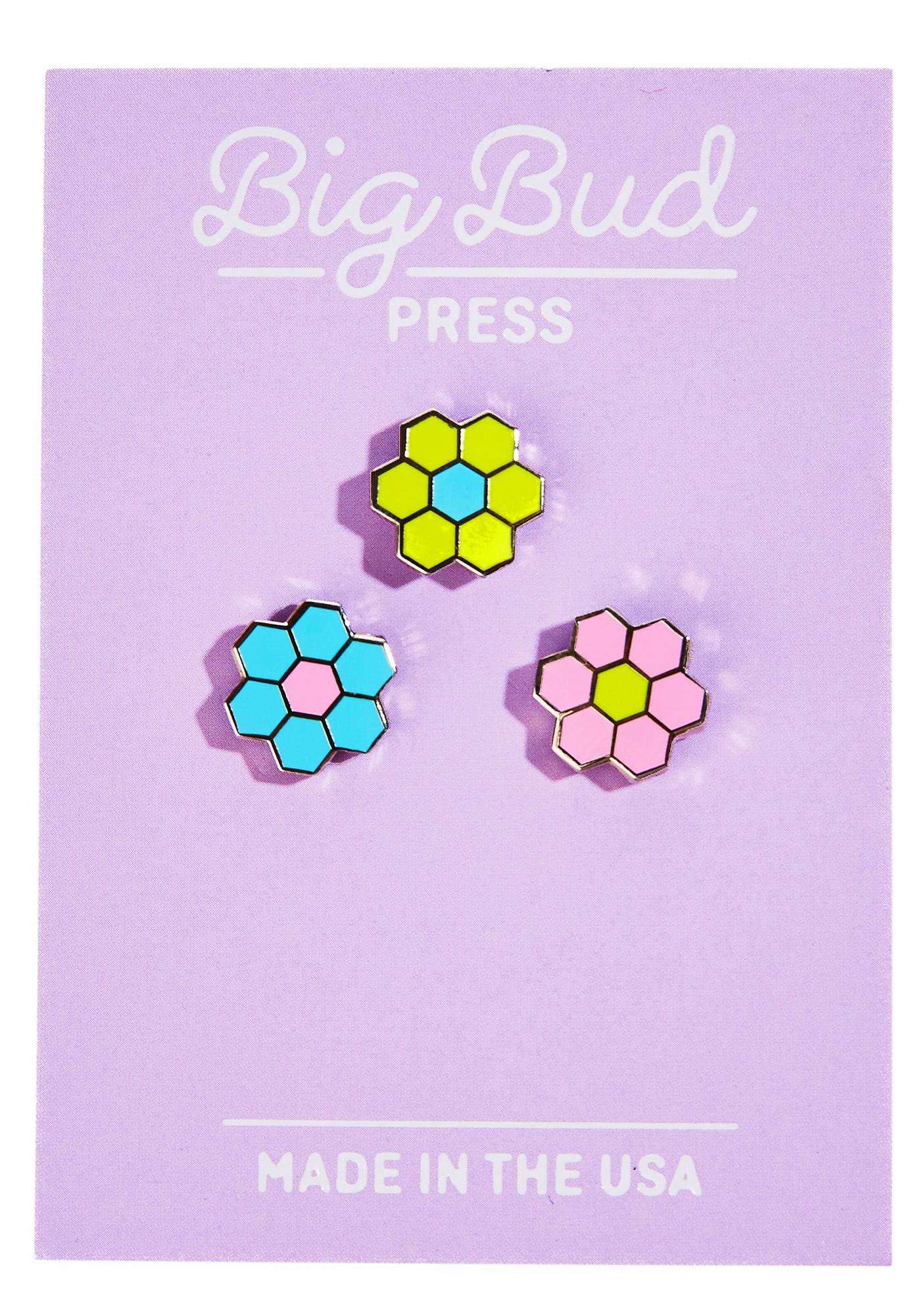 Big Bud Press Tiled Flower Pin Set