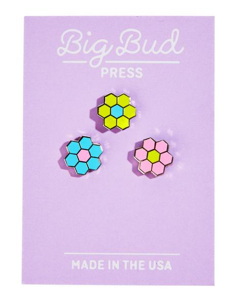Tiled Flower Pin Set