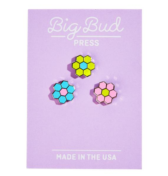 Big Bud Press Tiled Flower Pin Set